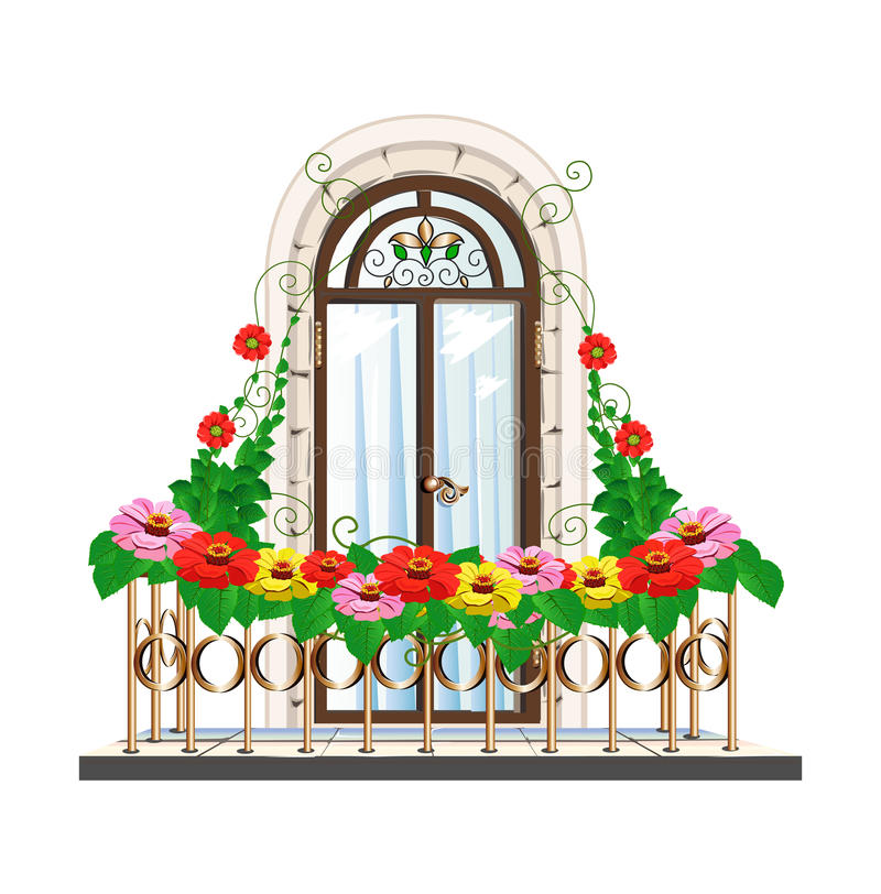 Balcony Flowers Stock Illustrations.