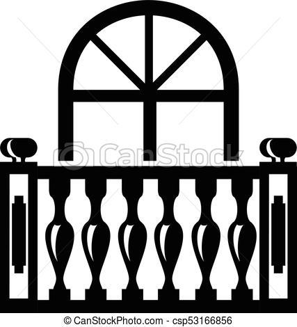 Panoramic balcony icon, simple style.