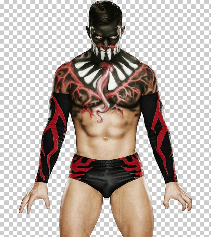 Finn Balor Front, topless man in black and white face paint.