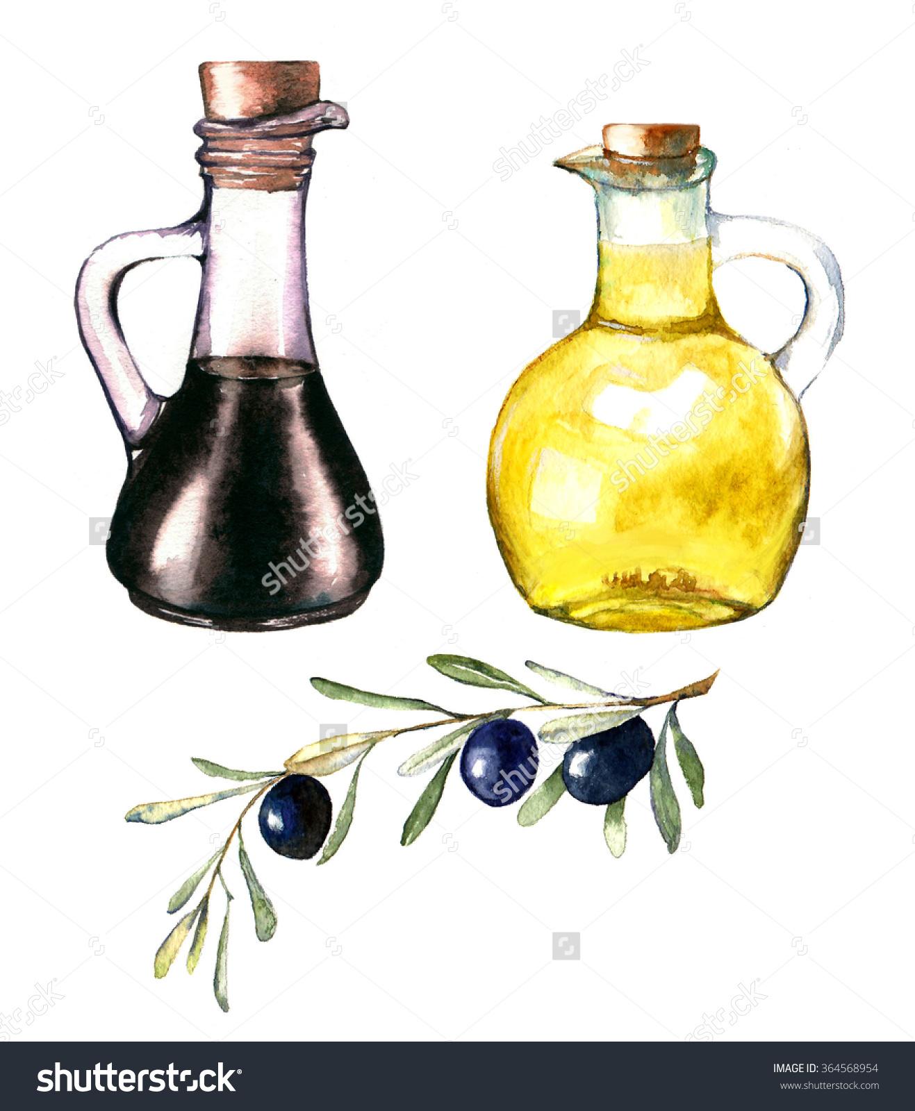 Handdrawn Watercolor Illustration Olive Oil Balsamic Stock.
