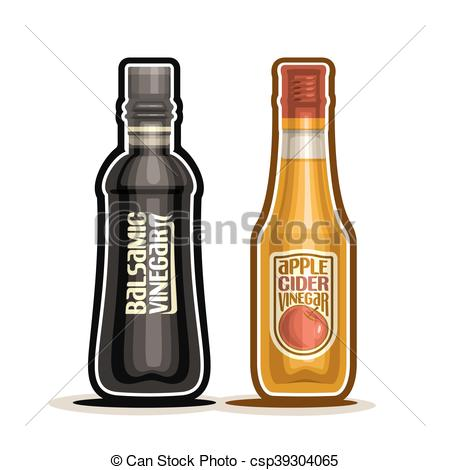 Clip Art Vector of Balsamic and Apple Cider Vinegar.