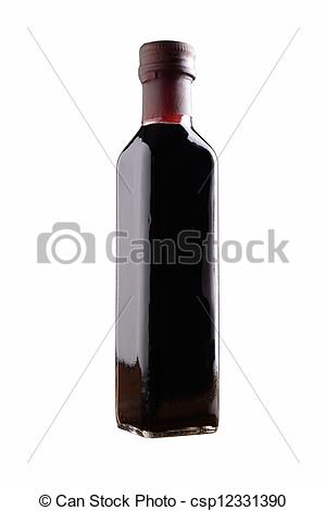 Stock Photographs of balsamic vinegar bottle isolated.