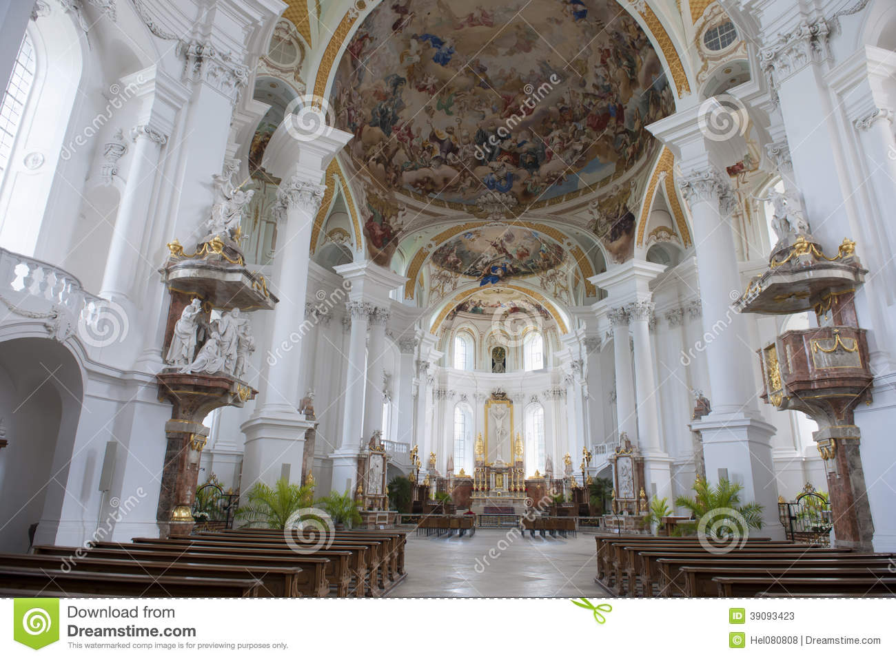 Abbey Church Neresheim Stock Photo.
