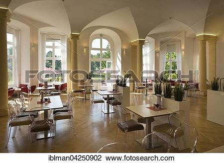 Stock Photo of Cafe Balthasar in Schloss Werneck garden hall.