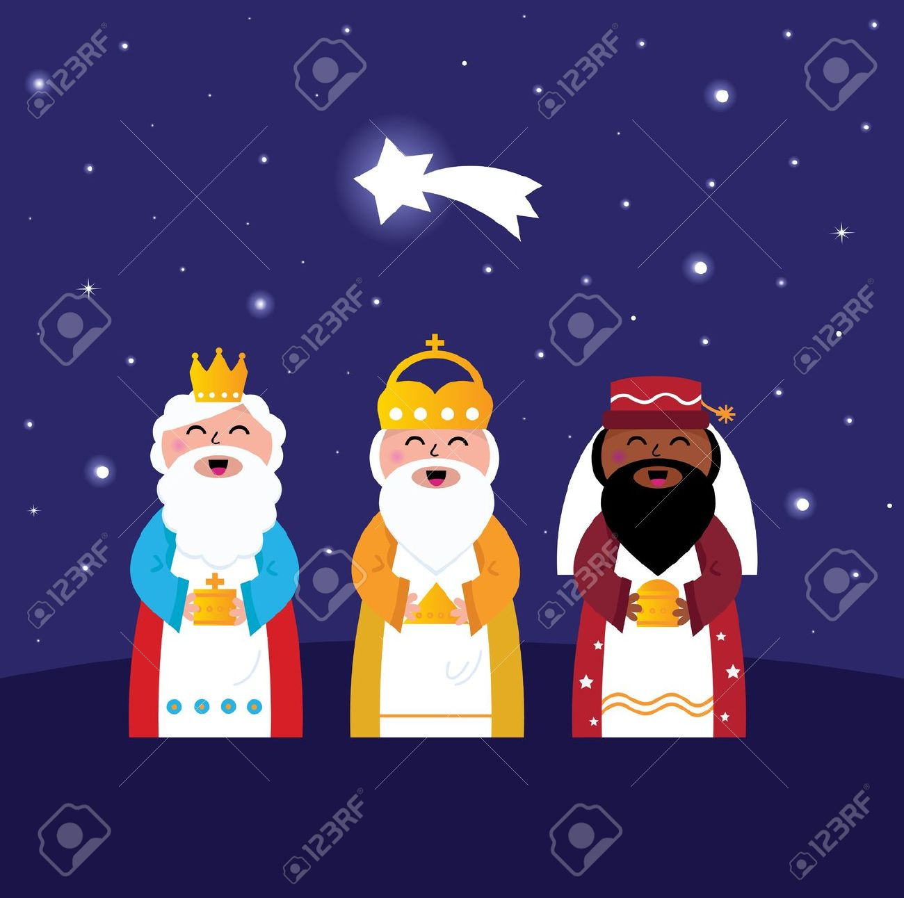 Caspar, Melchior And Balthazar Follow The Star Of Bethlehem.