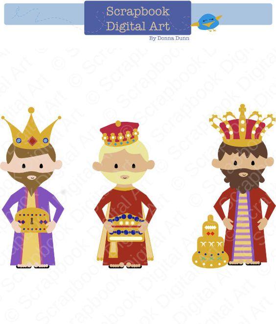 Three Kings Clip Art, Wise Men Clip Art, Kings clipart. Reyes.