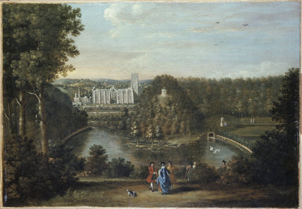 VIEW OF FOUNTAINS ABBEY by Balthasar Nebot 1768, Fountains.