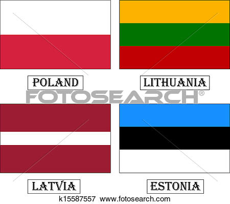 Clip Art of Baltic countries flags. k15587557.