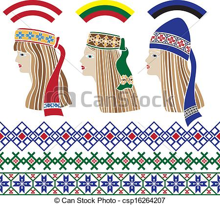 Vector Clipart of Baltic girls in national headdresses and.