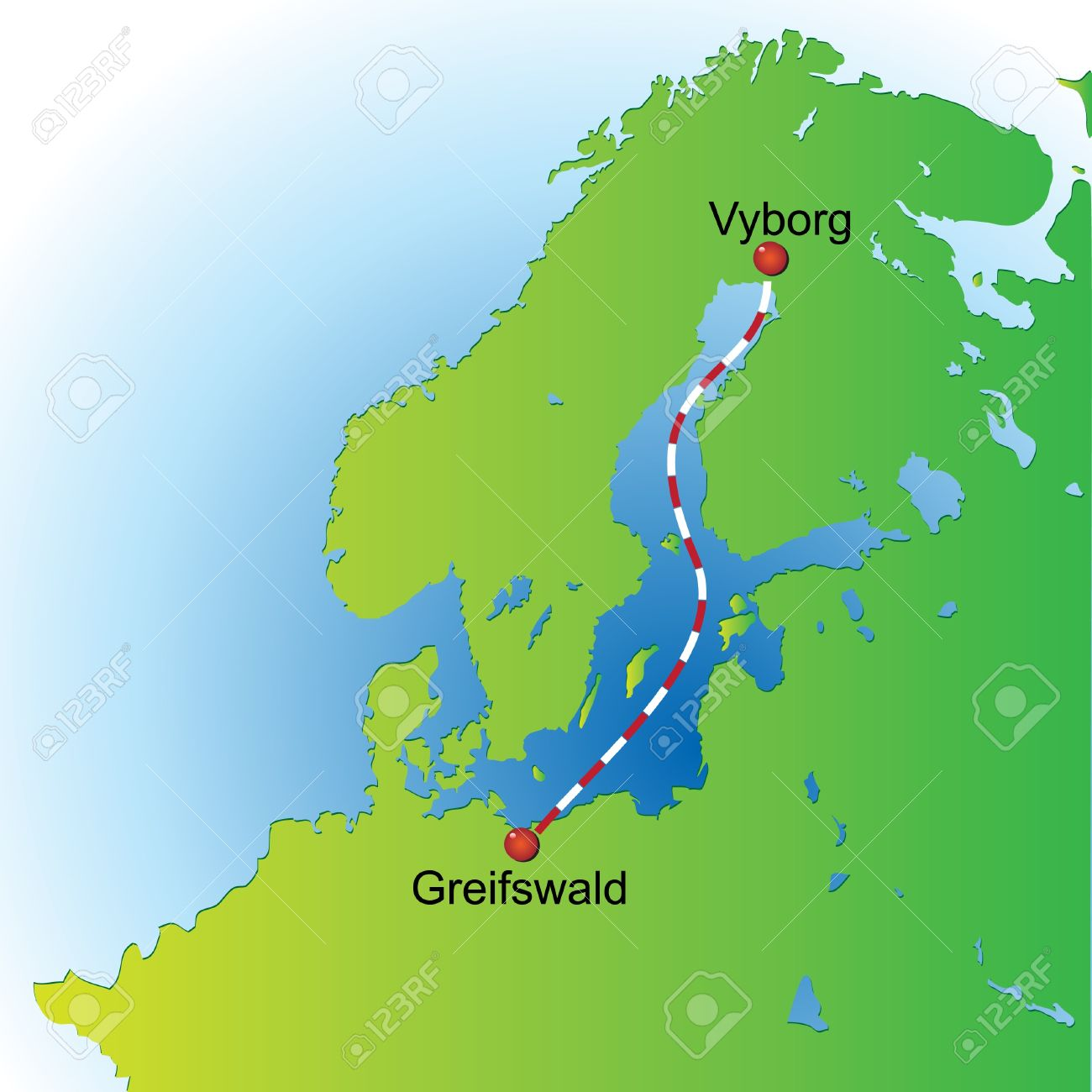 Map Of The Scheme A Gas Pipeline Under The Baltic Sea. Royalty.