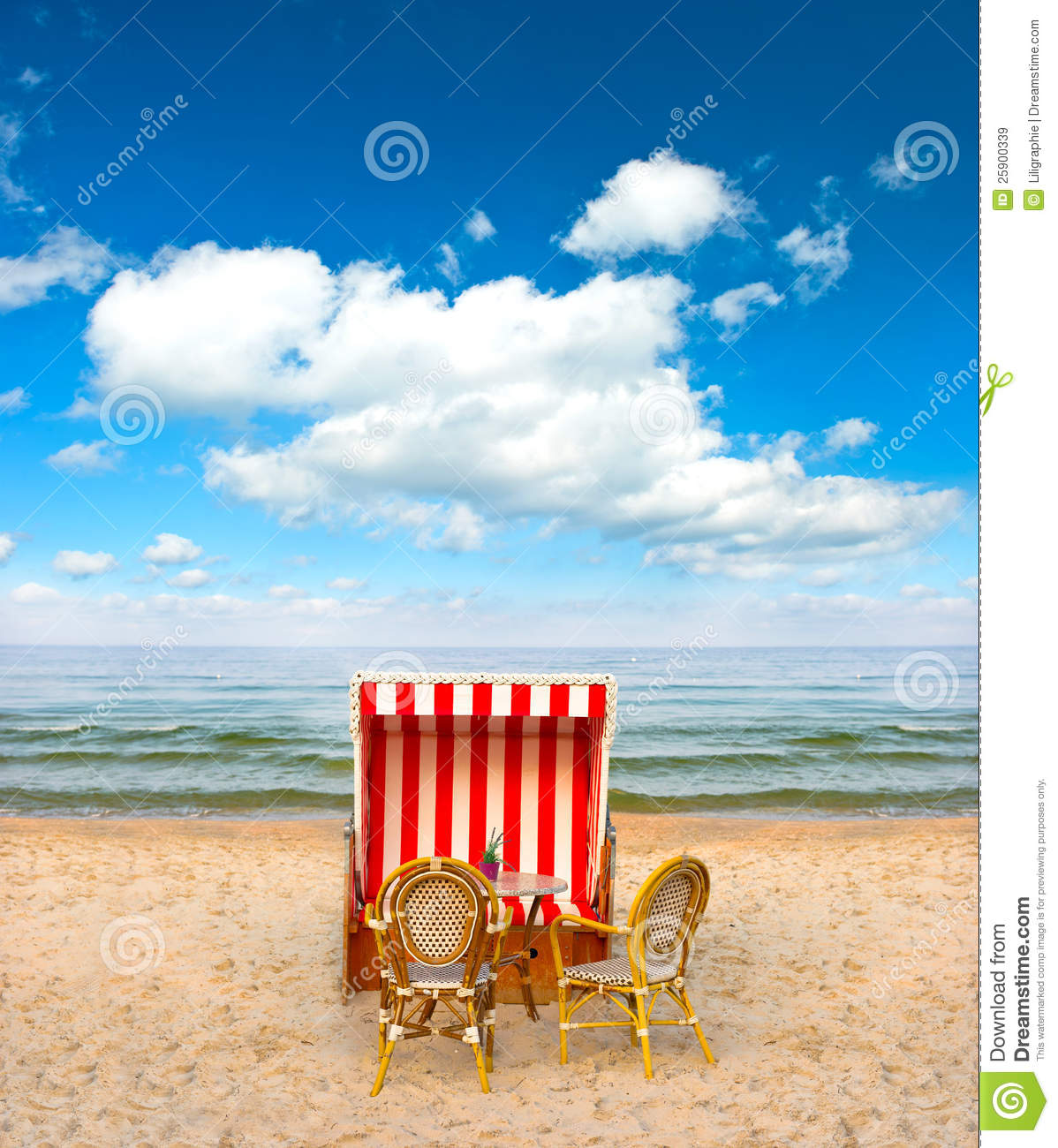 Lonely Beach Chair In Cafe On The Baltic Sea Royalty Free Stock.