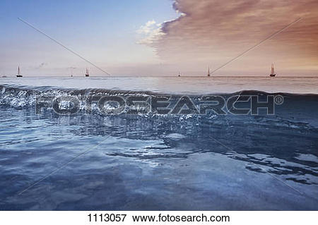 Picture of Distant sailboats on the Baltic Sea, Germany 1113057.