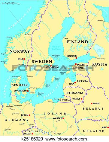 Clip Art of Baltic Sea Area Political Map k25186929.