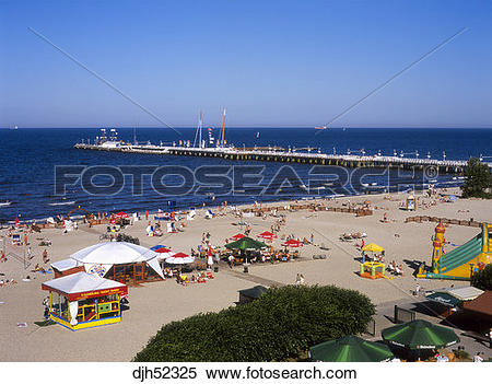 Stock Image of Sopot Pier and Beach, Sopot, Baltic Sea, Poland.