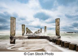 Stock Photography of Groyne on the Baltic Sea coast csp9824580.