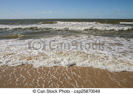 Drawing of Baltic sea coast near the city of Palanga in Lithuania.