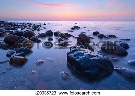 Stock Photo of Beautiful stones in the ocean. The Baltic Sea coast.