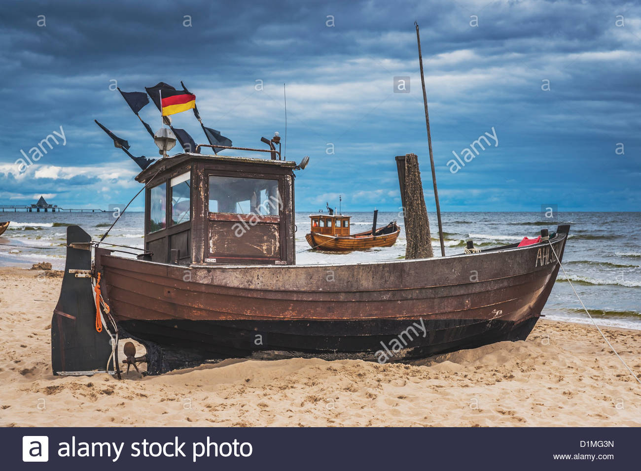 Two Fishing Boats At The Beach Of The Baltic Sea, Ahlbeck, Usedom.