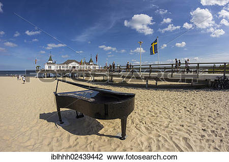 "Stock Photo of ""Pier with a grand piano on a beach, Ahlbeck."