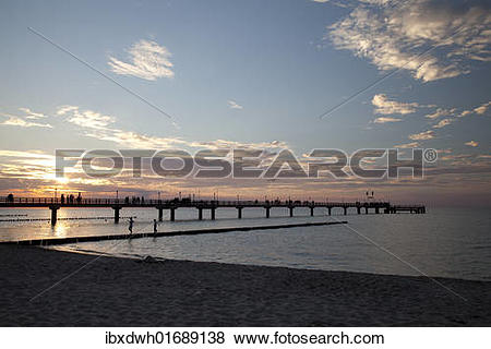 "Pictures of ""Sunset, pier, Baltic Sea resort town of Zingst."