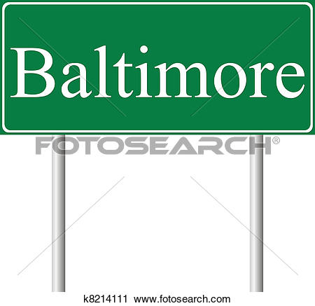 Clipart of Baltimore green road sign k8214111.