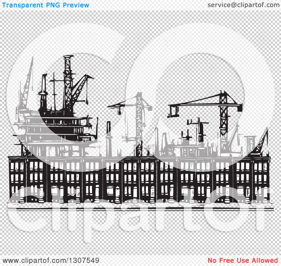 Clipart of Black and White Industrial Equipment over Woodcut.