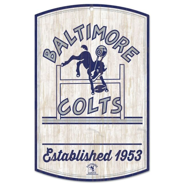 INDIANAPOLIS BALTIMORE COLTS CLASSIC RETRO LOGO EST. 1953 WOOD SIGN  11\