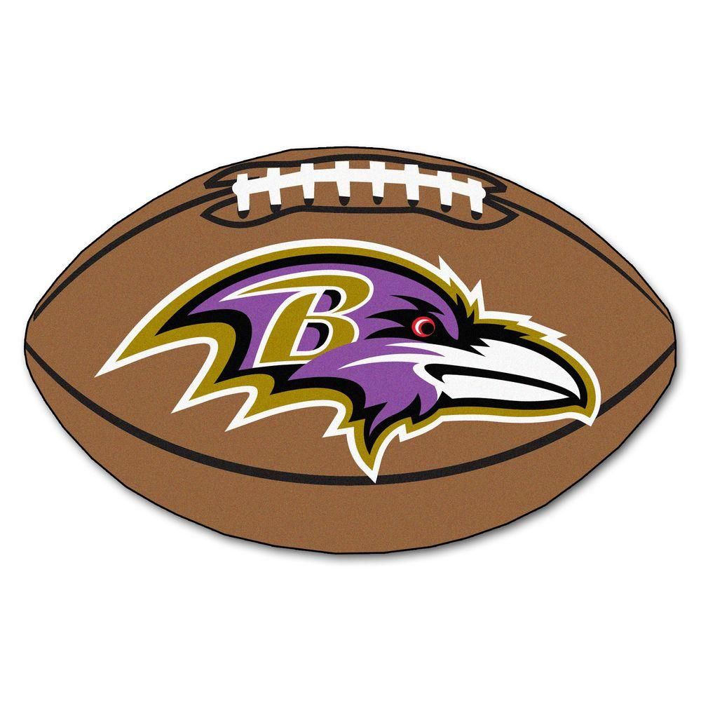 FANMATS NFL Baltimore Ravens Brown 2 ft. x 3 ft. Specialty Area Rug.