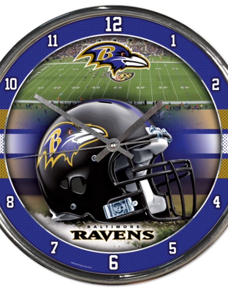 WINCRAFT Baltimore Ravens Round Chrome Wall Clock.