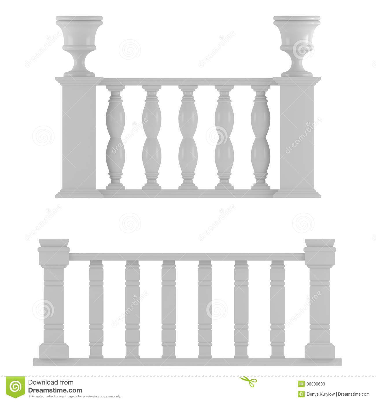 Classic Balustrade Isolated Stock Image.