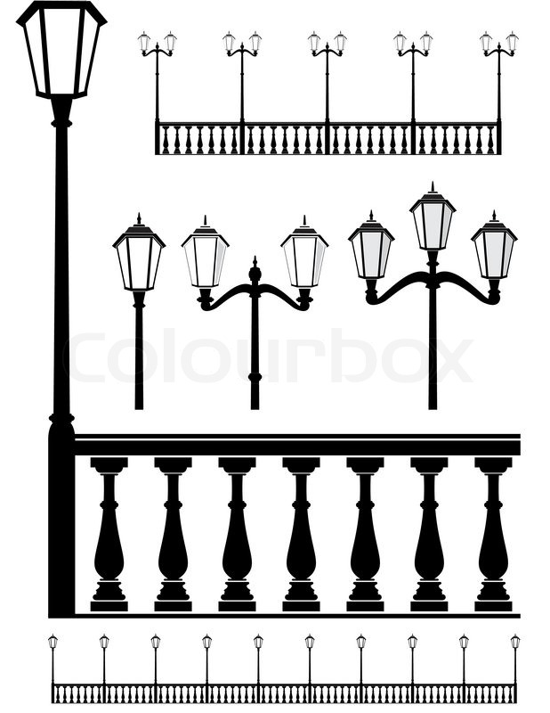 Set of street lantern in old style and balustrade.