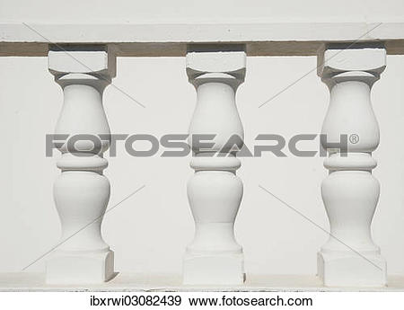 Stock Photograph of White stone balustrades ibxrwi03082439.