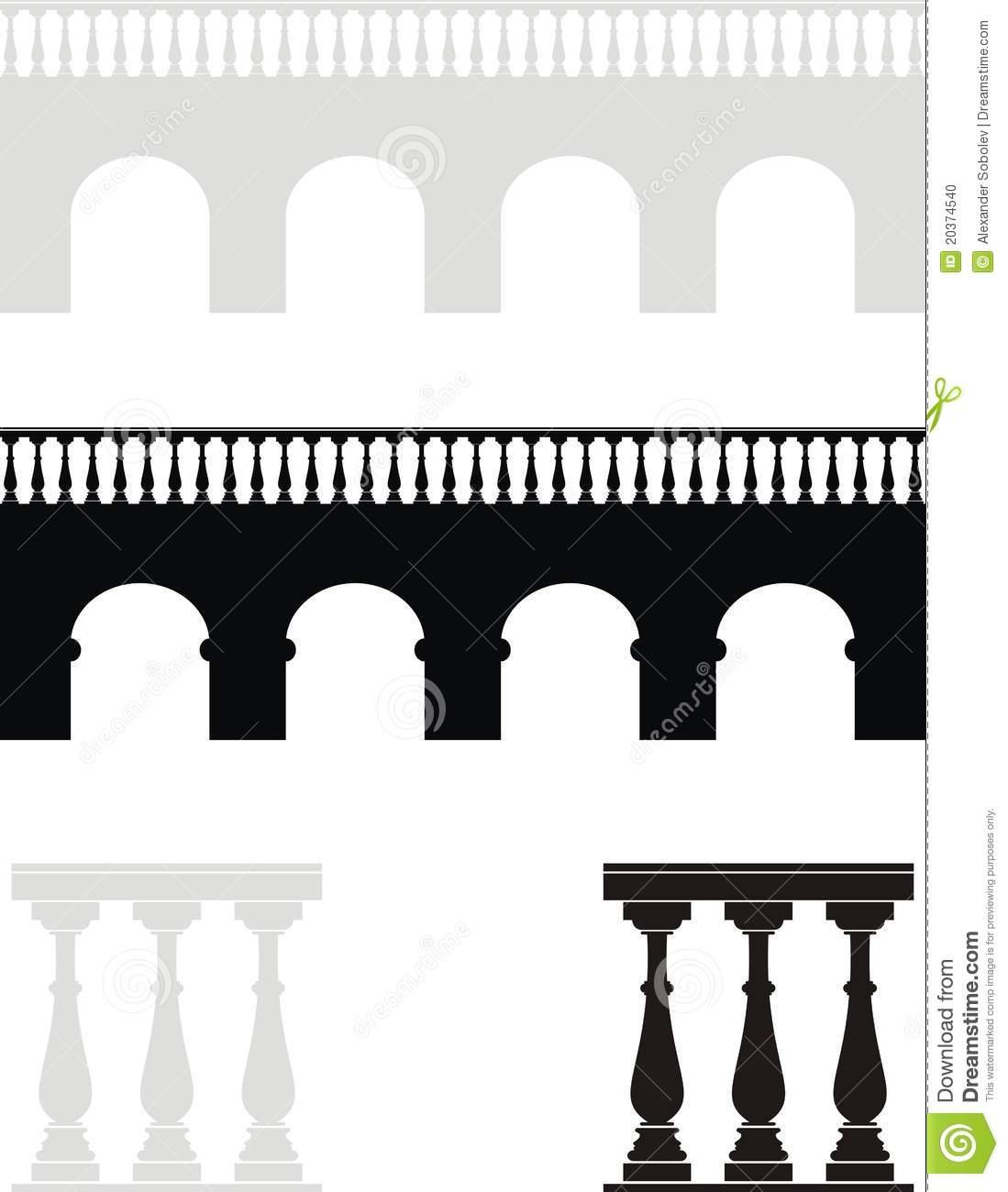 Ancient Bridge, Balustrade Stock Photo.