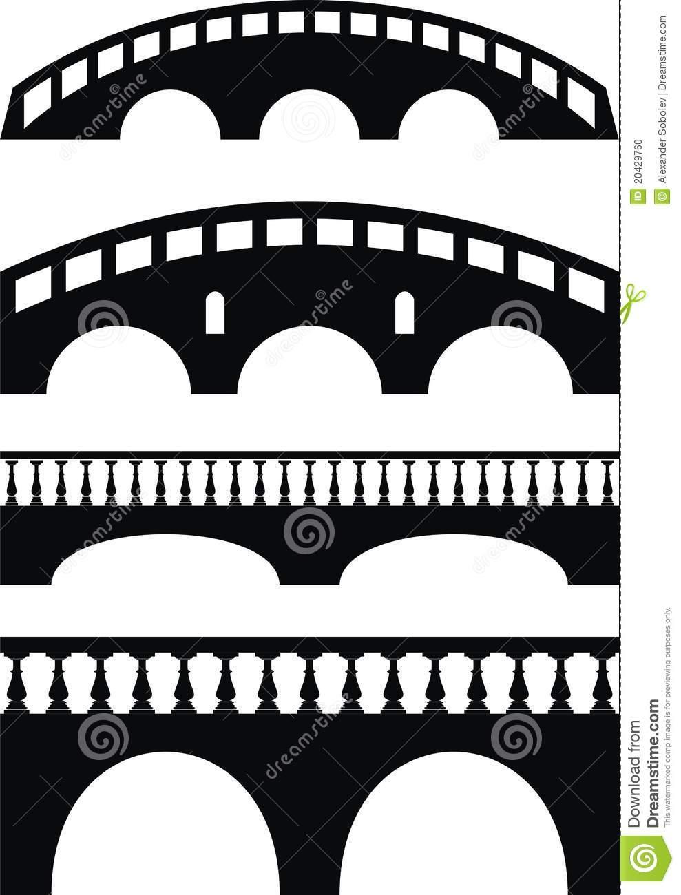 Stone Ancient Bridge, Balustrade Stock Photo.