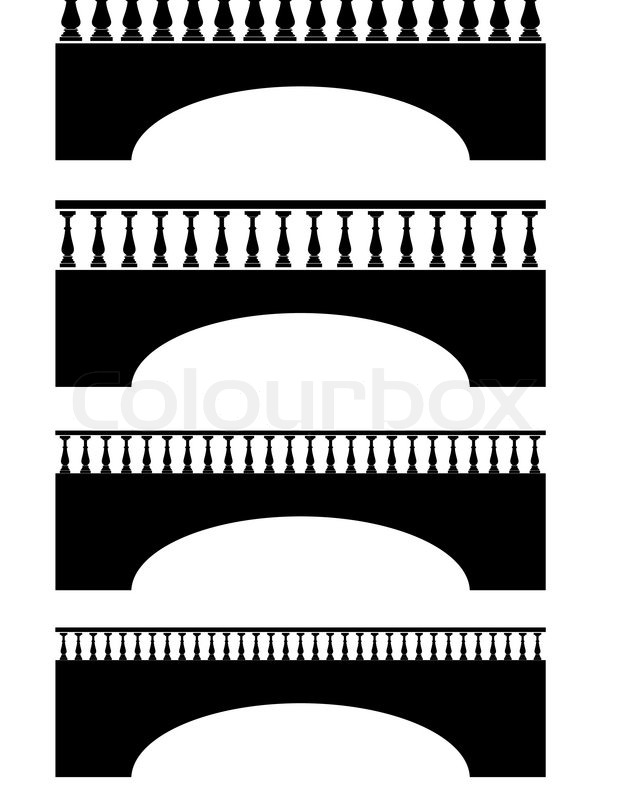 Ancient bridge black silhouettes and balustrade.