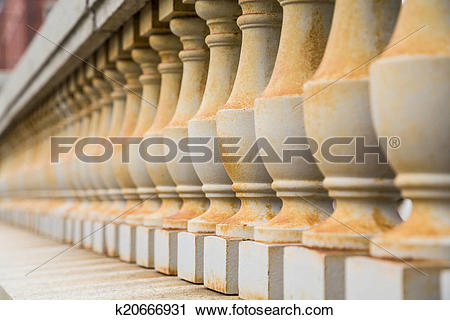 Stock Photography of Rust on Concrete Balustrades k20666931.