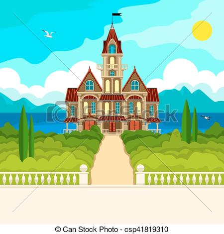 Vector Clip Art of Southern landscape and castle.