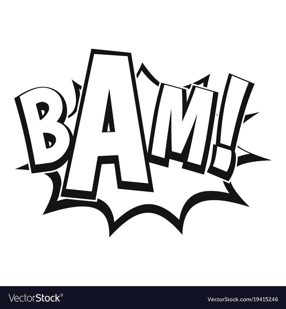 Bam comic book bubble icon simple style.