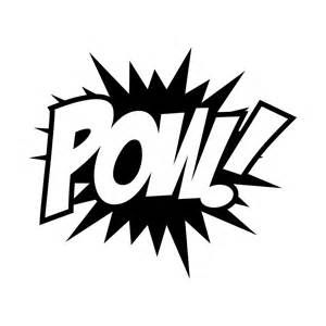 zap pow super hero words black and white clip art.