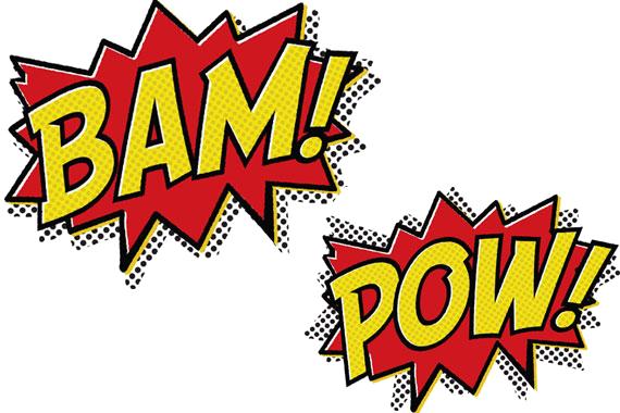 Bam Pow Cartoon Message Text.