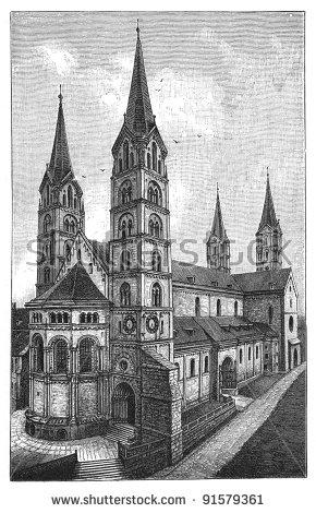 Romanesque Cathedral Stock Photos, Royalty.