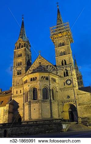 Stock Photography of Bamberg, Cathedral at Dusk, UNESCO World.
