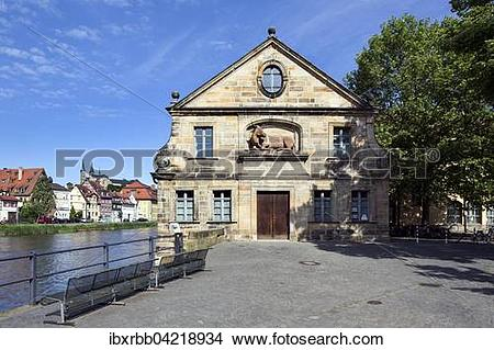 Stock Photo of Old slaughterhouse, cattle hall beside Pegnitz.