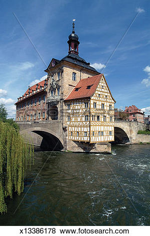 Pictures of Old City Hall for Bamberg on a Bridge over the River.
