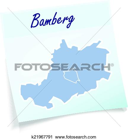 Clipart of Map of Bamberg as sticky note k21967791.