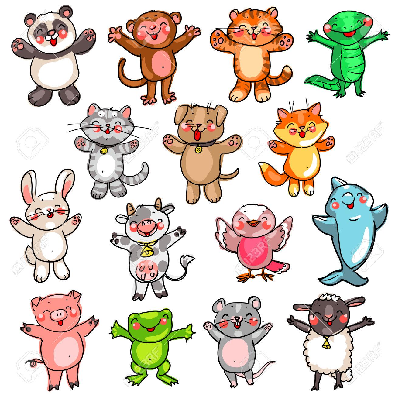 Raccolta Degli Animali Svegli Del Bambino, Disegno A Fumetti.