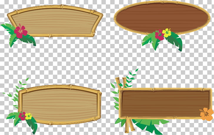 Frames Tiki culture , Hawaiian party, bamboo borders collage.
