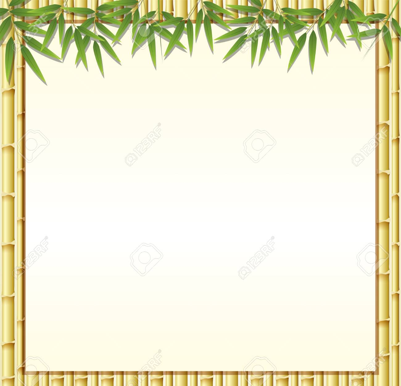 Border template with brown bamboo stems illustration.
