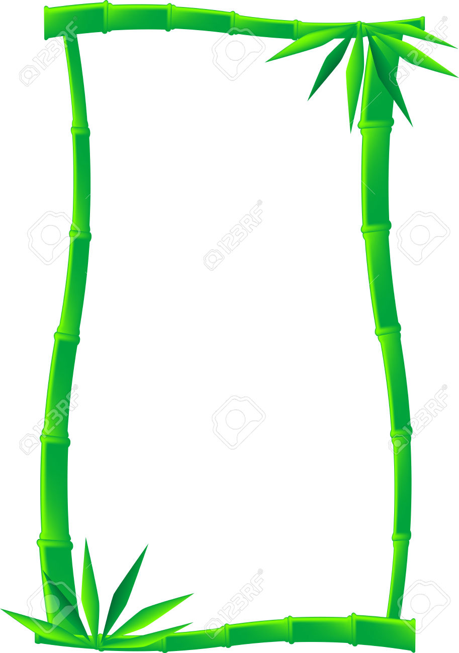 Illustration Of Green Bamboo Canes And Leaves, Isolated Royalty.