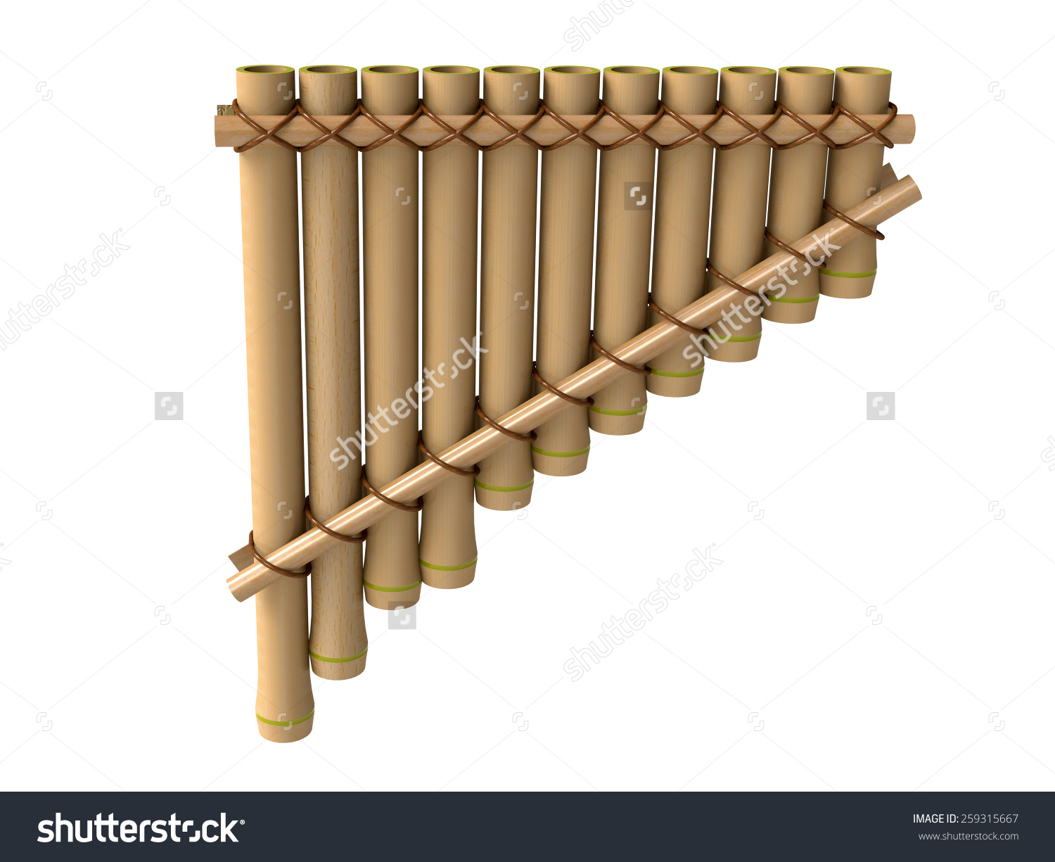 Pan Flute Bamboo Flute Pan Pipes Stock Illustration 259315667.